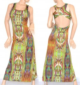 VESTITO LUNGO ELEGANTE donna maxi abito verde multicolore fantasia  scollatura incrocio schiena nuda cerimonia da sera 105A aa5b9239d93