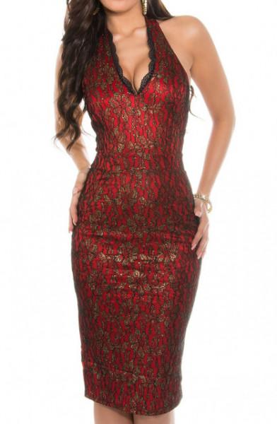 ABITO donna ROSSO ORO NERO vestito tubino giromanica decoltè party cerimonia dress A28