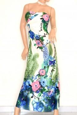ABITO LUNGO donna fantasia elegante vestito BIANCO BLU VERDE ROSA bandeau da cerimonia E125