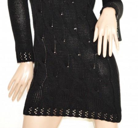ABITO nero vestito a maglia lana donna manica lunga collo alto maglione made Italy G70