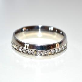 Anello donna fedina argento oro veretta strass cristalli brillantini zirconi bombati acciaio lucido