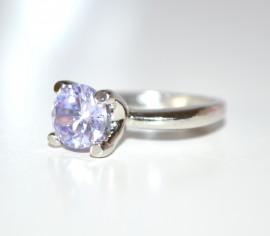 ANELLO donna fedina argento strass cristallo lilla brillante solitario idea regalo fidanzamento E30