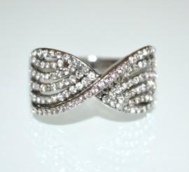 ANELLO INFINITO argento strass donna fedina fidanzamento fascia veretta ring A27