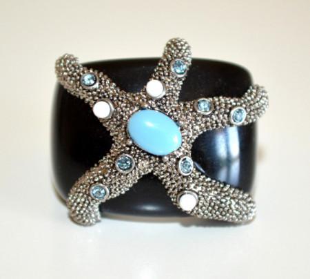 ANELLO NERO AZZURRO donna fascia stella marina pietre turchese strass ring N40