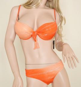 Bikini Costume 2 pezzi mare Reggiseno Push up + Slip Arancio e Argento