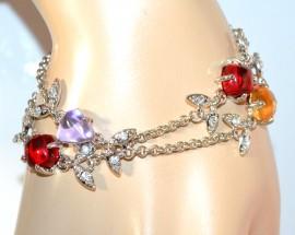 BRACCIALE ARGENTO donna strass cristalli lilla ambra rossi bracelet F205