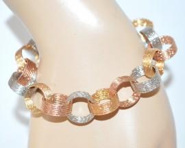 BRACCIALE donna ARGENTO ORO ROSATO cerchi diamantati luccicanti bracelet E28