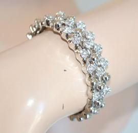 BRACCIALE donna rigido colore argento con strass\cristalli elegante da CERIMONIA chic pulsera 276