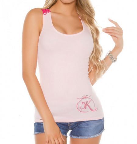 CANOTTA top rosa cipria fucsia donna pizzo ricamata maglietta t-shirt mare AZ73