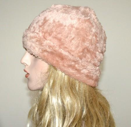 CAPPELLO BEIGE donna berretto eco pelliccia copricapo velluto caldo inverno fur hat G1