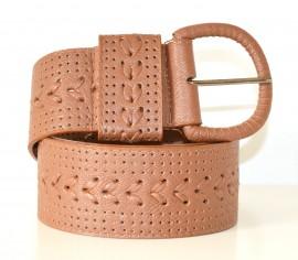 CINTURA MARRONE CUOIO donna cinturone eco pelle treccia belt ceinture пояса Z10