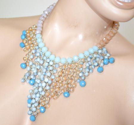 COLLANA CRISTALLI PIETRE donna girocollo azzurra celeste rosa cipria beige stones necklace P30