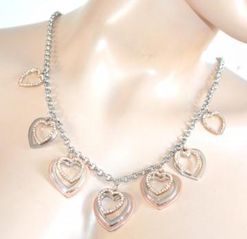 COLLANA donna ciondoli cuori argento oro rosa dorati catena lunga strass 91