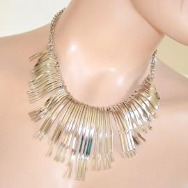 COLLANA donna girocollo ARGENTO ELEGANTE collarino rigido da cerimonia collar necklace collier 550