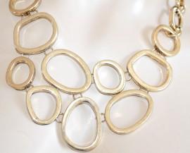 COLLANA donna girocollo elegante oro dorato multi-cerchi sexy collier necklace collar H30
