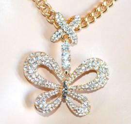 COLLANA donna ORO girocollo CIONDOLO STRASS farfalla cristalli elegante 850