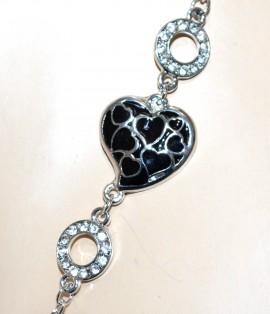 COLLANA LUNGA donna argento ciondoli CUORI neri strass regalo san valentino G21