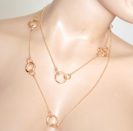 COLLANA LUNGA donna ORO ciondoli charms anelli dorati strass girocollo laccio catena catenina N60