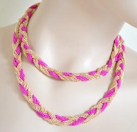COLLANA LUNGA donna ROSA FUCSIA ORO girocollo maglia intrecciata long necklace VN1