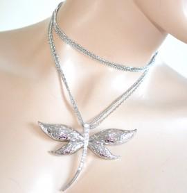 COLLANA LUNGA girocollo ARGENTO donna elegante CIONDOLO brillantini STRASS da cerimonia halsband 930