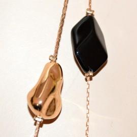 COLLANA LUNGA ORO pietre nere donna collier multi fili elegante necklace G62