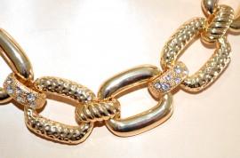COLLANA oro dorata collier girocollo donna catena anelli strass cerimonia G30