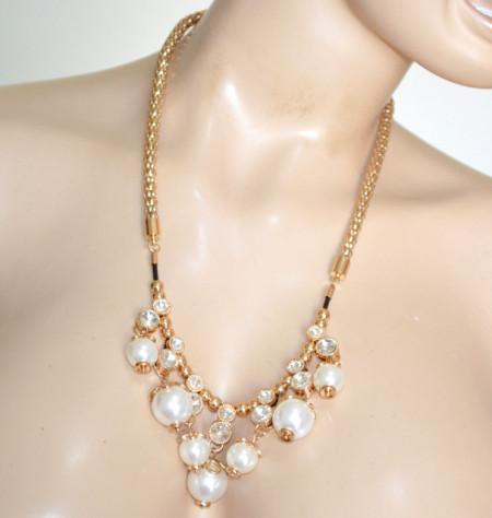 COLLANA PERLE donna oro dorata ciondoli cristalli strass girocollo collier charms N68
