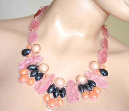 COLLANA ROSA donna oro girocollo ciondoli perle pietre blu notte corallo Halskette S96