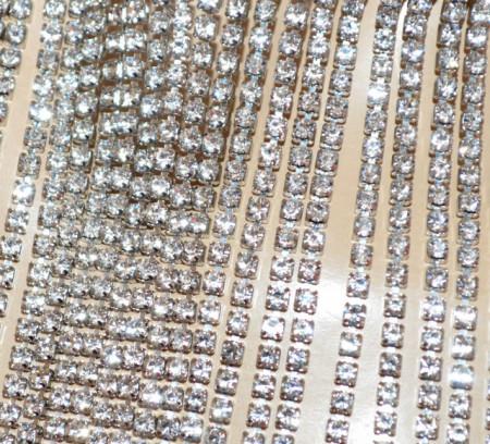 COLLANA STRASS argento donna collarino collier fili cristalli eleganti BB32