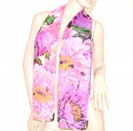 FOULARD donna seta stola\coprispalle da cerimonia x abito\vestito velato bufanda scarf floreale rosa 81