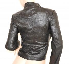 GIUBBINO donna NERO pelle giacca giacchino sexy giubbotto ricamato zip oro jacket H30