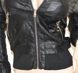 GIUBBINO NERO giacca pelle donna giacchino giubbotto avvitato zip argento sexy fibbia H20