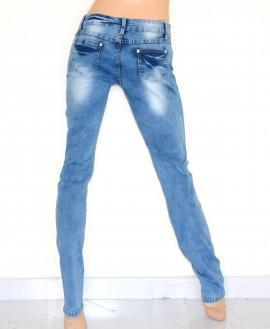 Jeans donna pantalone BLU skinny slim fit effetto sbiadito strappato aderente 35