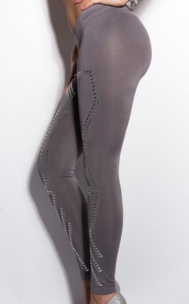 LEGGINGS GRIGIO donna pantalone pantacollant fuseaux borchie argento vita bassa elastico AZ79