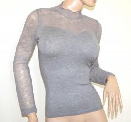 MAGLIA GRIGIO donna pizzo ricamata maglietta sottogiacca manica lunga lupetto A43