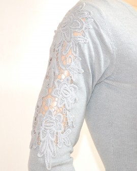 MAGLIETTA donna cardigan GRIGIO sottogiacca elegante scollatura a V maniche lunghe ricamate E25