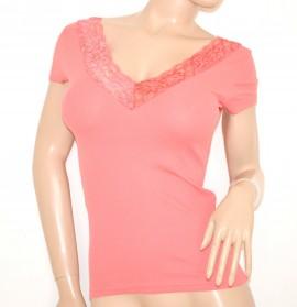 MAGLIETTA donna ROSA CORALLO maglia manica corta sottogiacca cotone pizzo sexy ELEGANTE t-shirt 60X