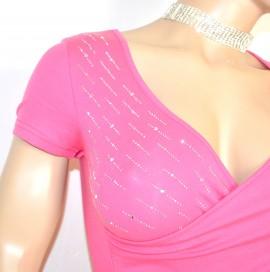 MAGLIETTA ROSA FUCSIA donna manica corta cotone sexy strass elegante t-shirt sottogiacca da cerimonia E65