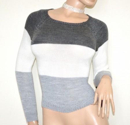 MAGLIONE donna grigio perla bianco golfino pullover maglia girocollo manica lunga made in Italy G75