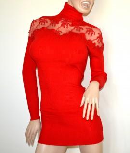 MAGLIONE LUNGO maxi pull donna rosso maglia manica lunga collo alto ricamo G6
