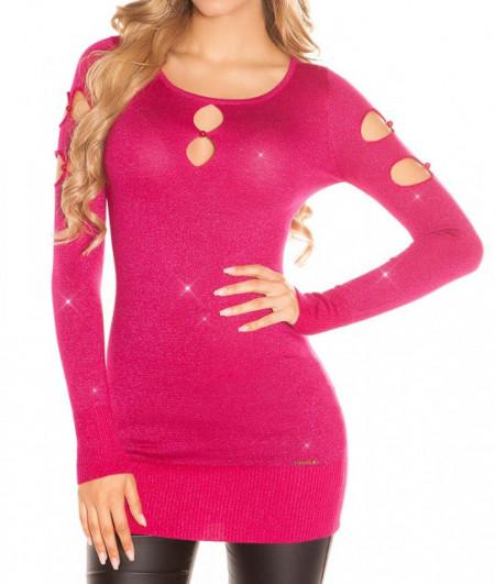 MAXI PULL ROSA FUCSIA donna maglietta manica lunga maglia maglione lurex AZ14