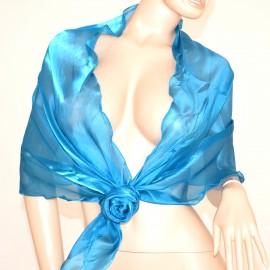 Maxi stola azzurro turchese coprispalle donna foulard x abito elegante matrimonio F5