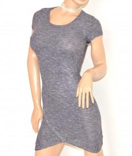 super popular 59926 31929 MINI ABITO GRIGIO AVION donna vestito mezza manica corta viscosa sexy  elasticizzato E200