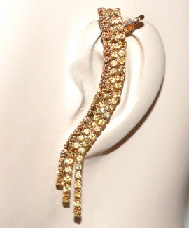 MONO ORECCHINO donna oro dorato strass ambra fili cristalli elegante bijoux F285