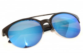 Occhiali da sole uomo neri lenti blu rotonde man sunglasses gafas de sol Z5