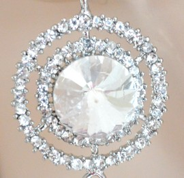 ORECCHINI argento donna cristalli strass eleganti pendenti sposa cerimonia F290
