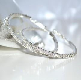 ORECCHINI CERCHI ARGENTO donna STRASS cristalli BRILLANTINI eleganti festa cerimonia F93