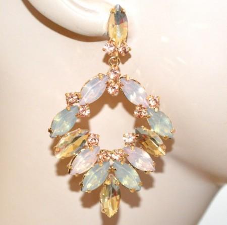 ORECCHINI CRISTALLI ambra cipria ghiaccio oro donna strass gocce pendenti eleganti cerimonia BB7