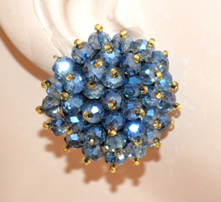 ORECCHINI CRISTALLI BLU donna CLIPS bottone al lobo perline oro eleganti lobe earrings P18