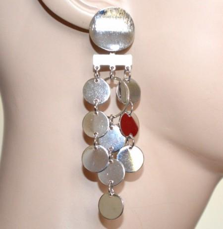 ORECCHINI donna ARGENTO pendenti ciondoli cerchi monetine boucles pendientes CC105